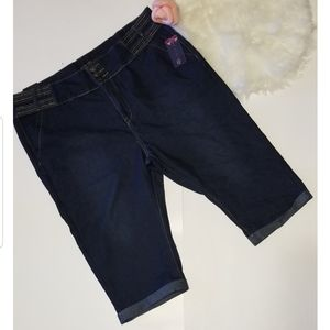 Plus Size Dark Wash Capri Jean